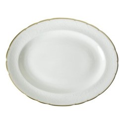 Darley Abbey Pure Gold Small oval dish, 34.5 x 27cm, white/gold