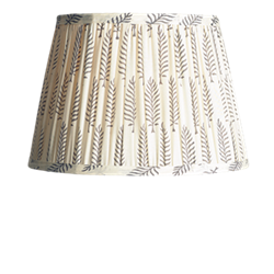 Straight Empire Block printed lampshade, 50cm, grey ferns cotton