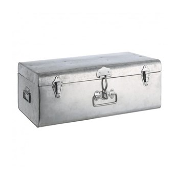 Trunk Large galvansised trunk, W58 x H23 x D35cm, silver