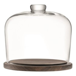City Dome with walnut base, D22cm, clear