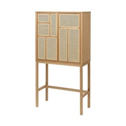Air Sideboard cabinet, 80 x 38 x 144cm, oak/cane