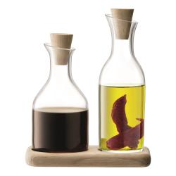 Serve Oil and vinegar set and oak base, 15cm