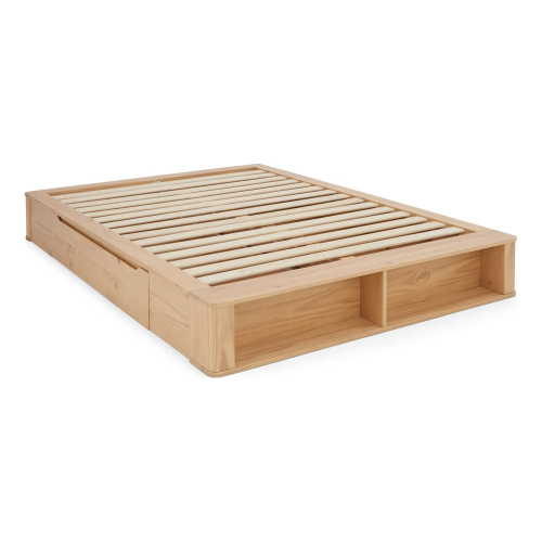 Essentials - Kano Kingsize platform bed with storage, H27 x W171 x D229cm, Pine
