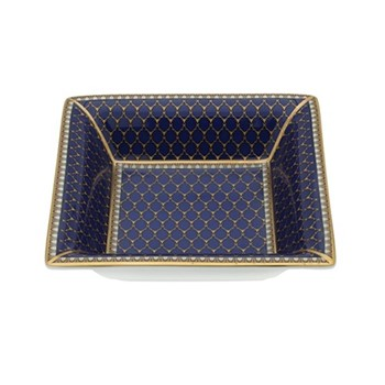 Antler Trellis Square tray, 12cm, midnight blue and gold
