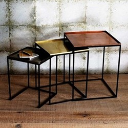 Set of 3 nesting tables, H45 x W41 x D41cm, copper/brass/nickel