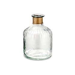 Chara Lines Small bottle, D15 x 11cm, clear glass & antique brass