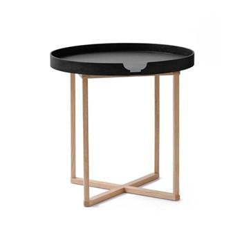 Damien Round table, H45 x W45 x D45cm, black/oak