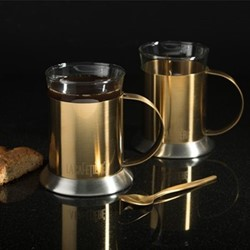 Edited Pair of glass cups, H17 x W9.5 x L13cm - 200ml, brushed gold