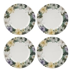 Atrium Set of 4 plates, 22.5cm, white/green