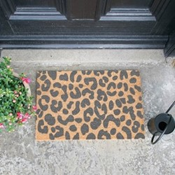 Leopard Print Doormat, 60 x 40cm, natural/grey