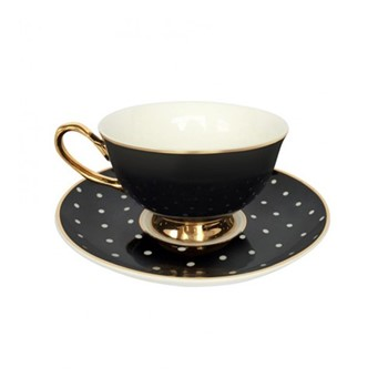 Spotty Set of 4 teacups and saucers, H6x Dia15cm, black/white