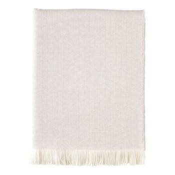 Herringbone Merino woven throw, 190 x 140cm, silver birch & white