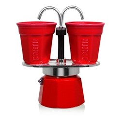 Mini Express Aluminium double serve coffee maker, 2 cup, red