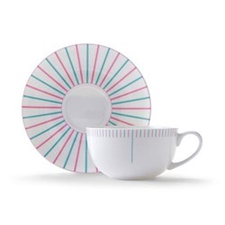 Burst Cappuccino cup and saucer, H7.5 x D11cm, pink/turquoise