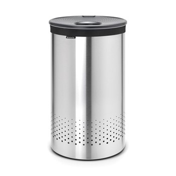 Laundry bin, 60 litre, matt steel body / dark grey plastic lid