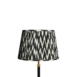 Straight Empire Ikat printed lampshade, 35cm, black zig-zag linen