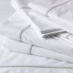 Savoy - 400 Thread Count Egyptian Cotton Super king flat sheet, W305 x L275cm, White/Silver
