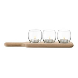 Paddle Tealight holder set and oak paddle, 34cm, clear