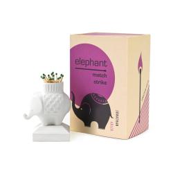 Elephant Match strike, H9.5 x W7.6cm, white porcelain
