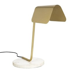 Sloped Table lamp, H43 x W43 x D20cm, gold and marble
