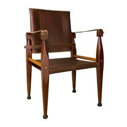 Bridle Leather Campaign Chair, H89 x W56 x L55cm, honey distressed maple/brass