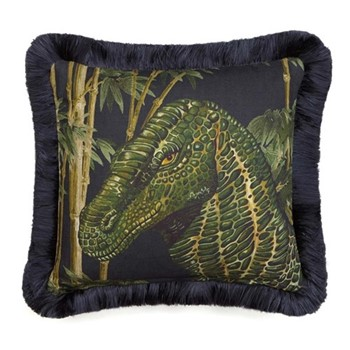 Iggy Fringed linen cushion, L45 x W45cm, bambusa midnight