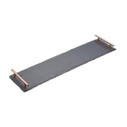 Serving platter with handles, L60 x W15 x H4cm, slate/copper