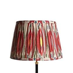 Straight Empire Ikat printed lampshade, 40cm, heraldic linen