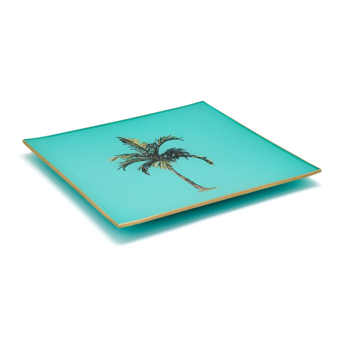 Palm Tree Square decoupage tray, 20cm, Turquoise/Gold Edging