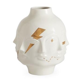 Gilded Muse Giant dora maar vase, H38.1 x W20.32 x D20.32cm, white/metallic gold
