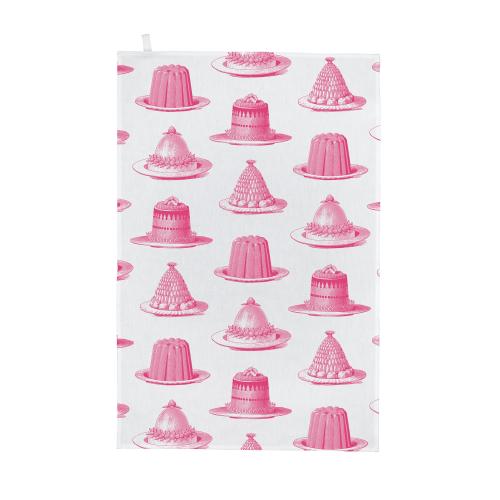 Jelly & Cake Tea towel, 50 x 70cm, Raspberry