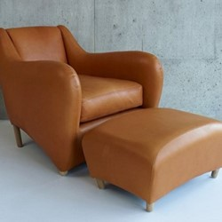 Balzac by Matthew Hilton Armchair and ottoman, utah russet leather