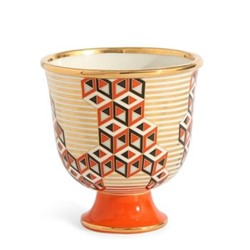 Versailles Pedestal vase, D15.88 x H16.51 x L15.88cm, red/metallic gold