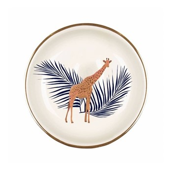 Giraffe & Palm Ring plate, D9cm, navy