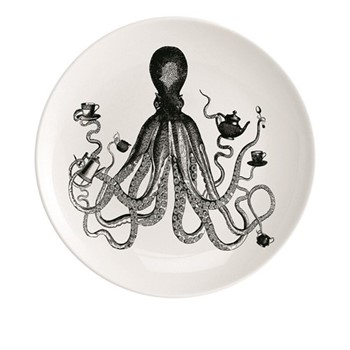 Octopus For Tea Plate, Dia20cm, black/white