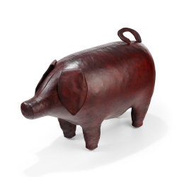 Pig Animal footstool / seat, L725 x W290 x H435mm, cowhide leather