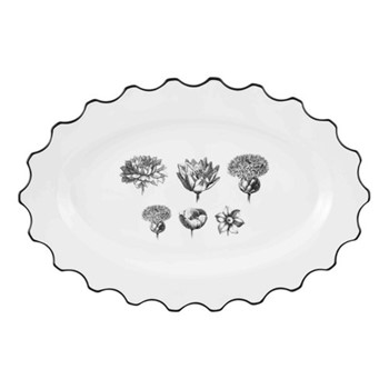 Herbariae Small oval platter, 30 x 23cm, white
