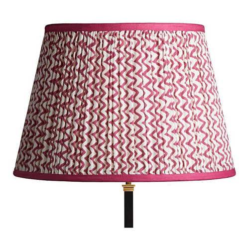Straight Empire Block printed lampshade, 45cm, Crimson Chevrons With Crimson Tape