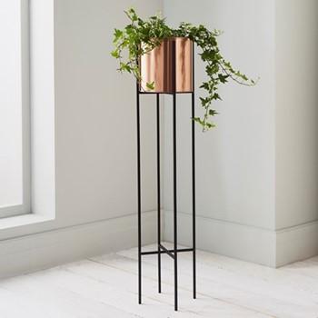 Large plant holder, L12.6 x W12.6 x D71cm, black