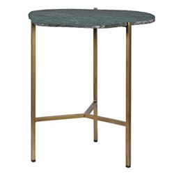 End table, H51 x W45 x Dia39cm, green/gold