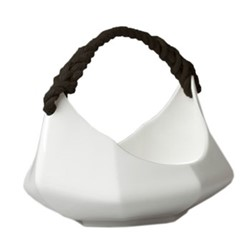 The Boat Basket, 17.5 x 33x 23cm, gloss white/black