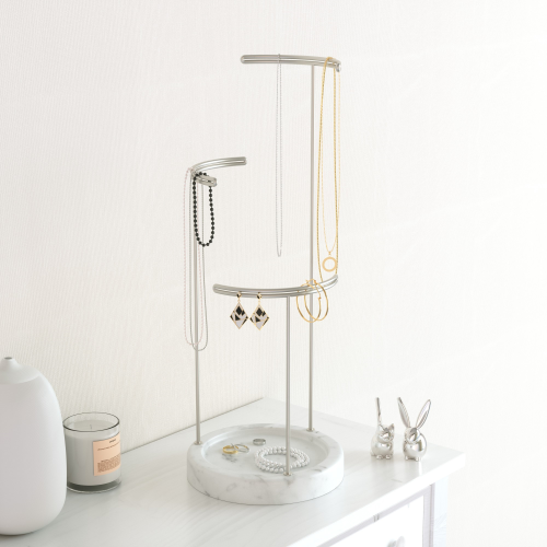 Tesora Jewellery stand, 42 x 15 x 15cm, White/Nickel