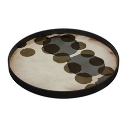 Layered Dots - Slate Large round glass tray, D61 x H5cm, slate