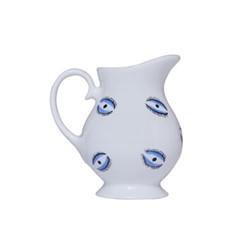 Eye Milk jug, H8.8 x D8cm, white and blue