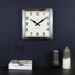 Quad Wall clock, 40 x 40 x 9cm, polished chrome steel