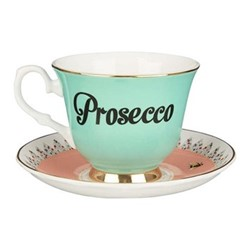 Prosecco Set of 6 teacups and saucers, H8 x D14cm