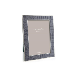 """Faux Croc Photograph frame, 4 x 6"""" with 24mm border, Dove With Silver Plate"""