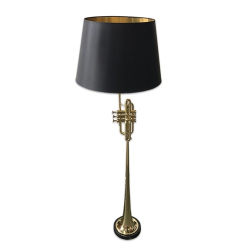 Herald Trumpet Floor lamp with black shade, H111 x W19 x D19, Brass/Black