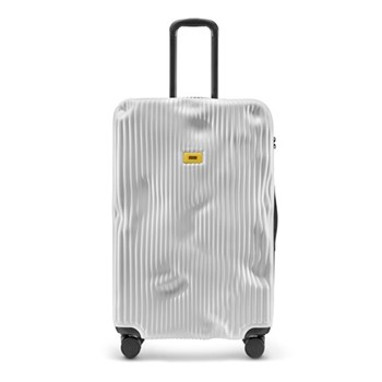 Stripe Large suitcase, H79 x W50 x D30cm, white