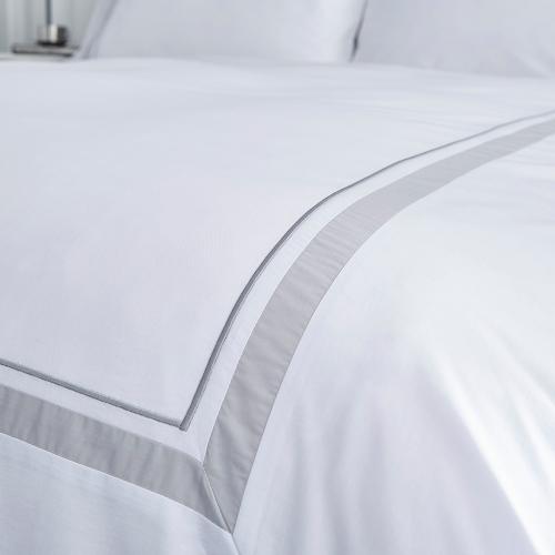 Hepburn Super king size duvet set, 220 x 260cm, White/Grey